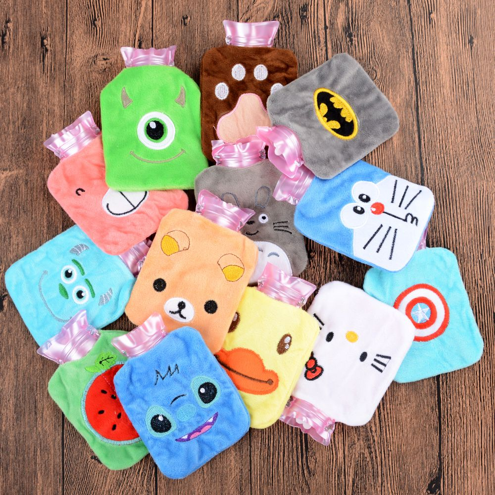 1 PC Mini Multi-color Plush Cartoon Thick Hot Water Bottle Bag Heatproof Warm Relaxing Heat Cold Therapy Cute Gift