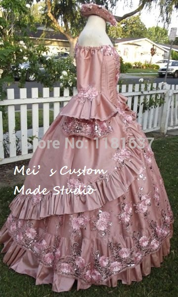 Floral Étincelle Robe Rose Film Princesse Custom Made Antoinette Fantaisie Marie Période DentelleUp Cinéma Dusty rCxedBo