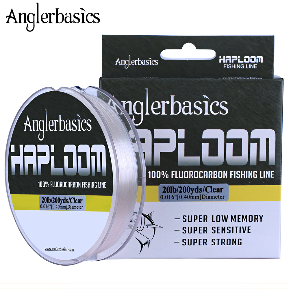 Anglerbasics 100% Fluorocarbon Fishing Line 200yds/182M Fly Or Lure Fishing Leashes Monofilament Leader Line 4LB-20LB