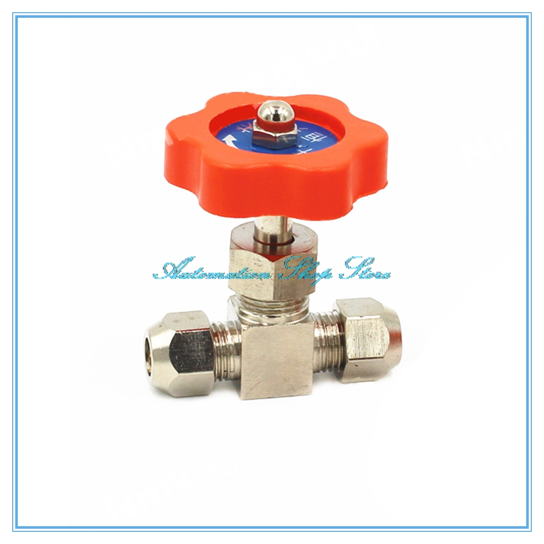 6mm 8mm 10mm 12mm Hole Dia Orange Plastic Handle Metal High Pressure Durable Tube  Needle Type Globe Valve