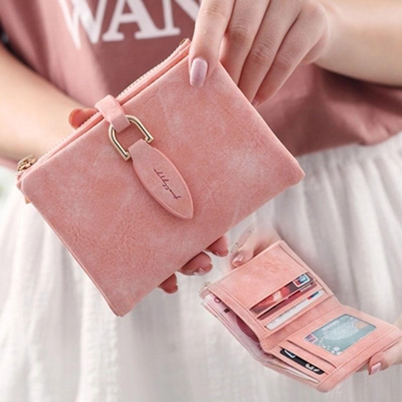 Fashion Wallet Women Short Purses Vintage Leather Ladies Snap Fastener Clutch Wallet Small Matte Women Wallets Female Purse W275