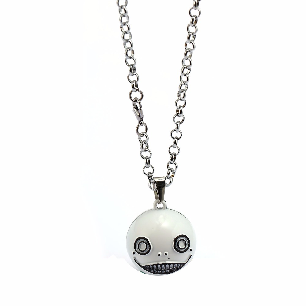 Mengtuyi Jewelry Fashion Necklace Cute White Ball Pendant Smile Chocker Mechanical Era Amir 3D Alloy Stereo Pendant Necklace