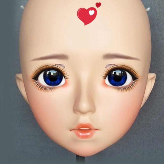 dm145 Costumes & Accessories Kids Costumes & Accessories Female Sweet Girl Resin Half Head Kigurumi Mask With Bjd Eyes Cosplay Japanese Anime Role Lolita Mask Crossdress Doll