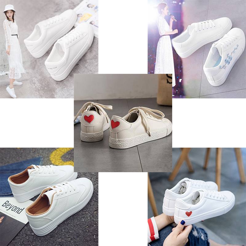 Women Sneakers Fashion Breathble Vulcanized Shoes Women Leather Platform Shoes Women Lace up Casual Shoes White Sneaker