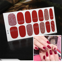 14tips/sheet Glitter Nail Art Sticker Manicure Tips Full Cover Wraps Nail Foils DIY Adhesive Decals Valentines day Drop Shipping one sheet stylish color block glitter nail art sticker