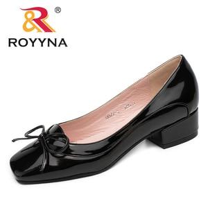 Image 3 - ROYYNA 新着ファッションスタイルの女性パンプス蝶ノット女性ドレス靴スクエアトゥ女性オフィス靴浅い女性靴