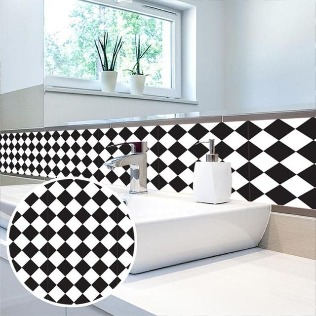 Black And Withe Grid Tile Stickers Kitchen Bathroom Waterproof Self  Adhesive Wallpaper Kitchen Mosaic Wall Decal