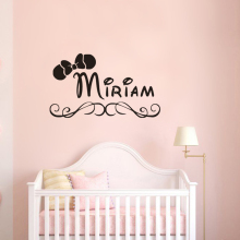 Kids Room Decor Personalized Name Wall Decals Minnie Mouse Bow Sticker Custom Girl Vinyl
