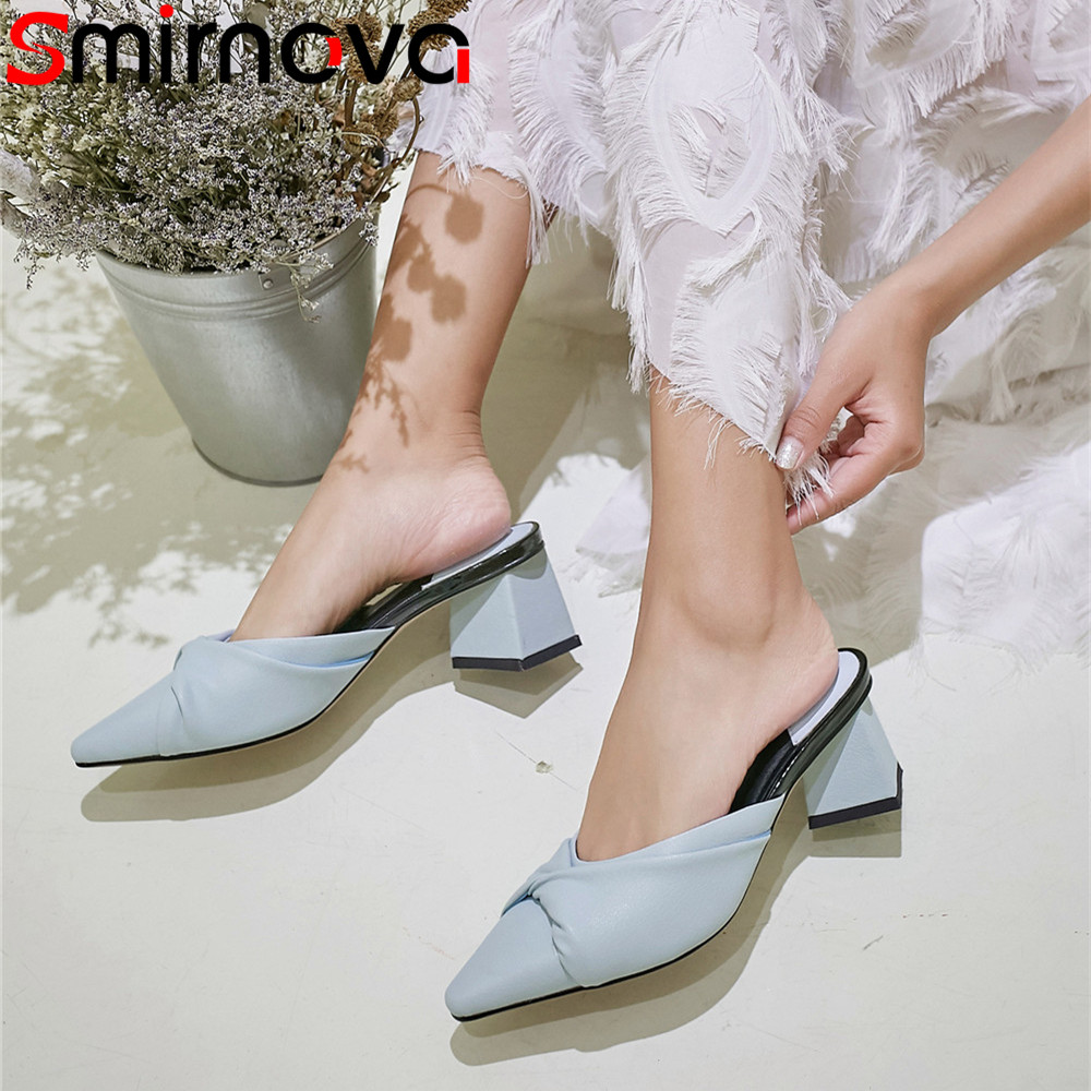 все цены на Smirnova fashion pointed toe shallow casual mules shoes thick heel sandals women mules shoes genuine leather high heels shoes