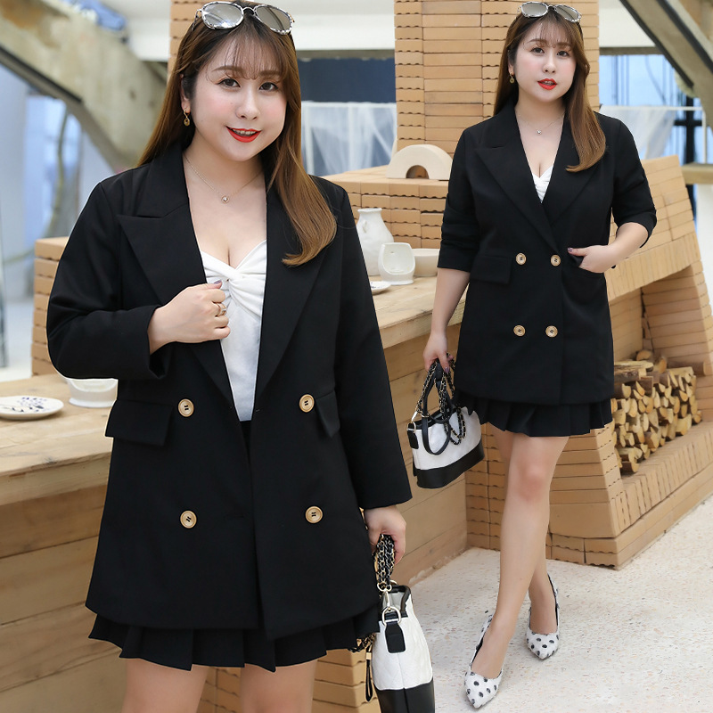 Woman Plus Size Blazer 2019 New Korean Style Woman Long Sleeve Double Breasted Coat Jacket Elegant Office Lady Casual Outerwear