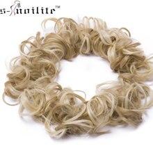 S-noilite 80 см женский кудрявый пучок шиньон эластичная лента Эластичные Синтетические волосы для наращивания черные высокотемпературные волокна поддельные волосы