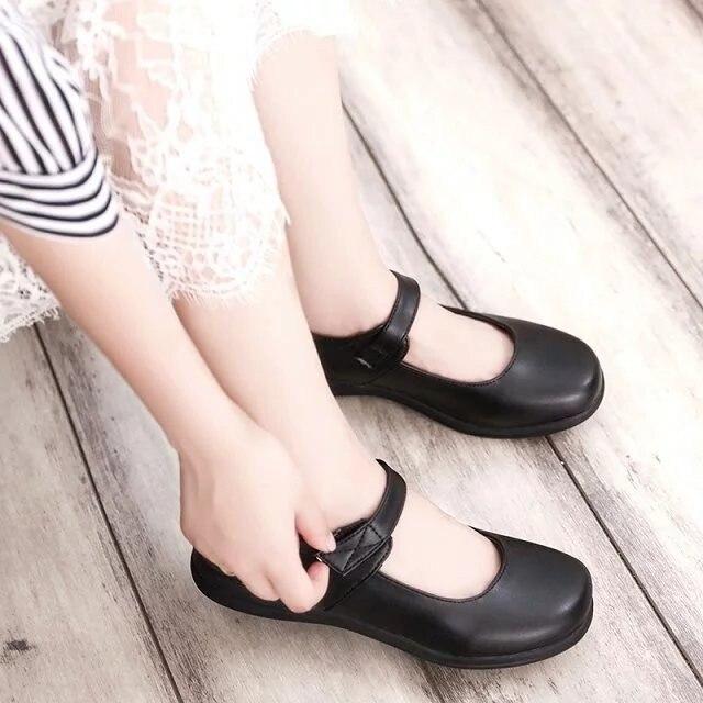 Image 2 - Bonito meninas lolita maid sapatos de couro redondo japão escola  uniforme sapatos botas uwabaki chinelos seikatsu emilia rem ram  cosplaySapatos