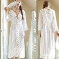 Estilo europa Novo Palácio Requintado Beleza Sexy Camisola Longa Camisola de Renda Branca Adequado Para Todas As Mulheres