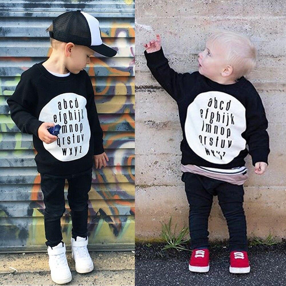 Sweatshirt Toddler Baby-Boys-Girls Cotton Brand Black Pullover Alphabet-Tops English