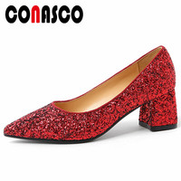 CONASCO 2019 New Sexy Women Glitters Party Wedding Shoes Woman Thick High Heels Pointed Toe Prom Pumps Slip On Basic Pumps