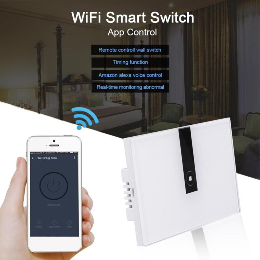 US Plug Wireless WiFi Smart Touch Switch Remote Control Tempered Glass Switch Panel On/Off Sensor Control by EWELINK APP us standard 1gang 1way remote control light touch switch with tempered glass panel 110 240v for smart home hospital switches
