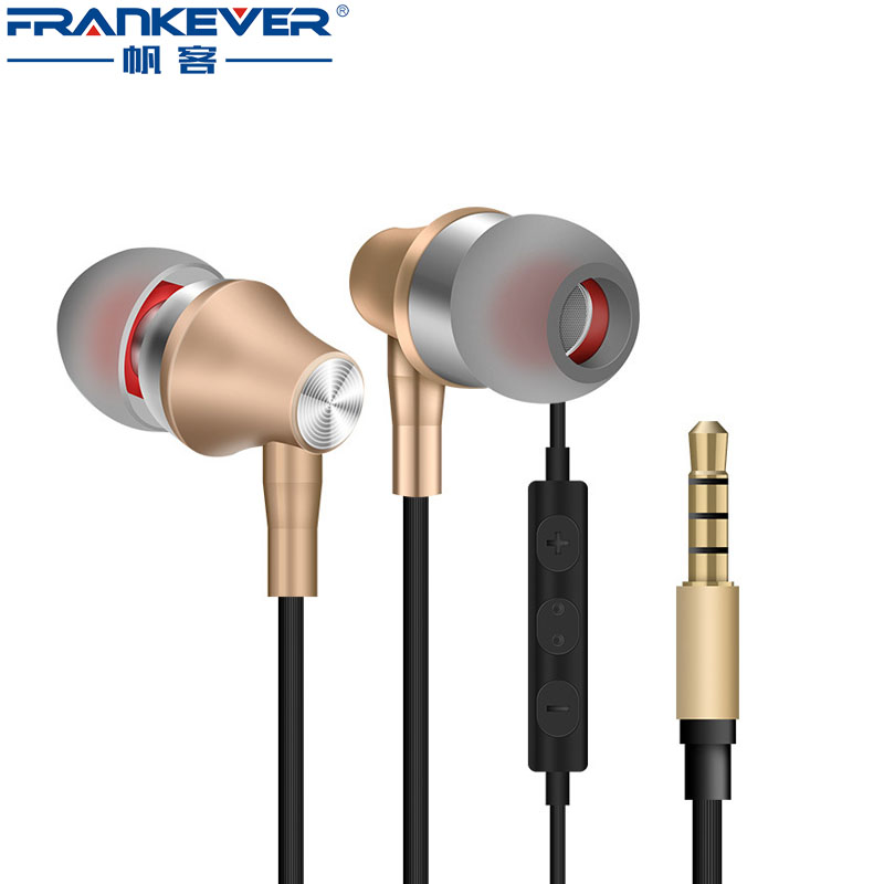 Metallic Wire-controlled HD Bass Stereo Earphone with microphone Waterproof Sport in-ear earbuds for Mobile Phone Computer cyboris stereo earphone in ear wire control with mic 3 5mm sport earphone microphone