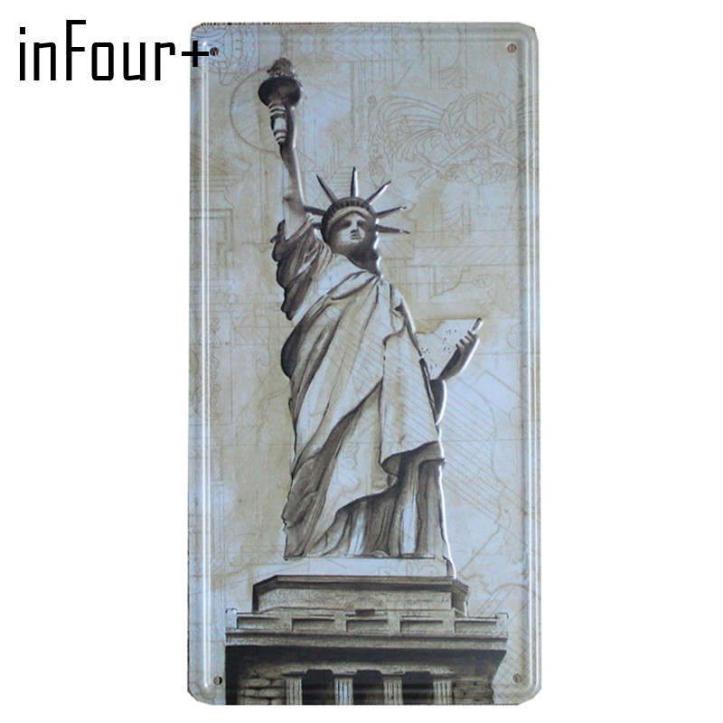 [inFour+]Statue of Liberty Plate Metal Plate Car Number Tin Sign Bar Pub Cafe Home Decor Metal Sign Garage Painting Plaques Sign