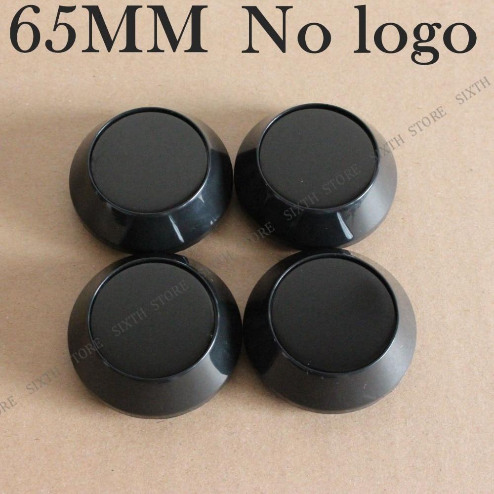 KOM POWER Car Styling 4PCS Chrome & Black 65mm Blank Caps No Logo Sticker Emblems Wheel-Covers Caps Wheels Center Hub Caps