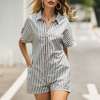 2019 Summer Stripe Women Romper Cotton High Quality Cloth Beach Casual Style Loose Striped Printed Jumpsuit Stand Collar Button