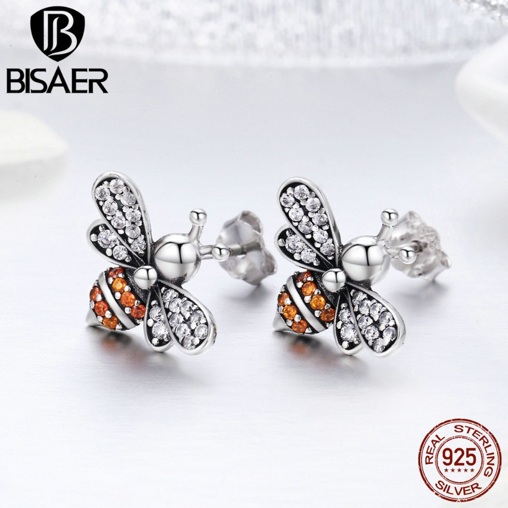 BISAER HOT SALE 925 Sterling Silver AAA CZ Busy Bees Insects Stud Earrings for Women Luxury Fine Silver Jewelry Brincos GXE344