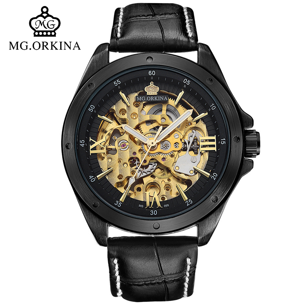 Black Skeleton Automatic Mechanical Watch Men Mg.orkina Self Wind Transparent Wrist Watches Clock Man montre automatique homme binger 2017 woman gold skeleton transparent self wind automatic watch elegant ladies black wrist watches female birthday gifts