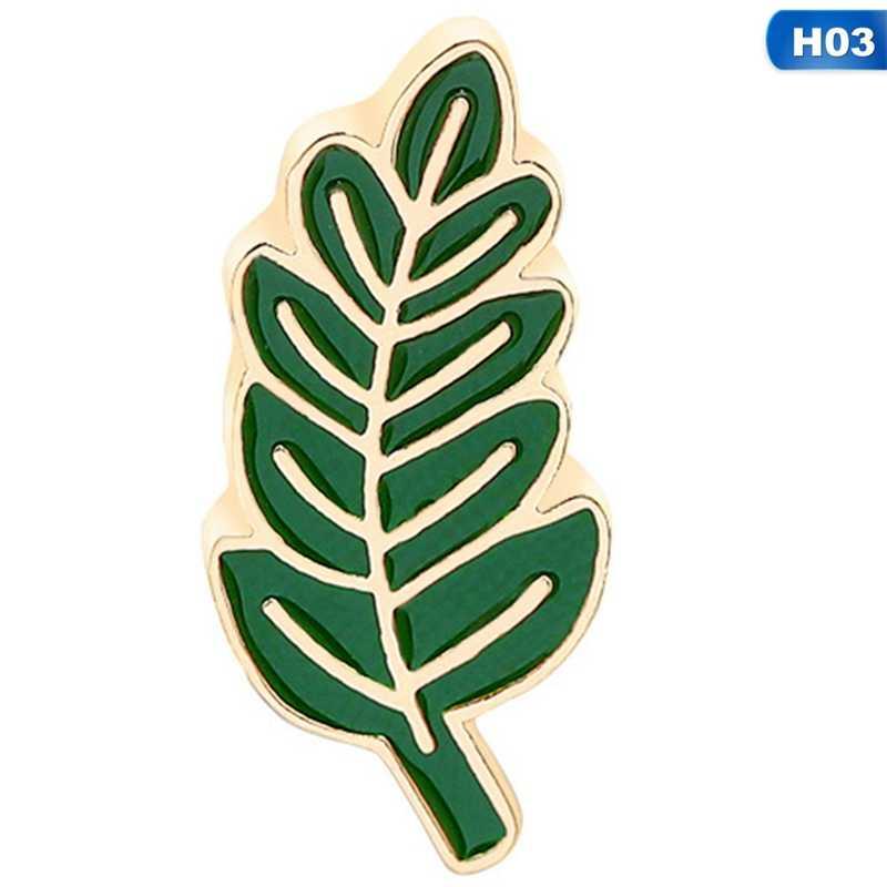1Pcs Kreatif Tanaman Hutan Bros Wanita Kerah Topi Pin Daun Pisang Hijau Pohon Bros Logam Enamel Perhiasan Pria wanita Hadiah