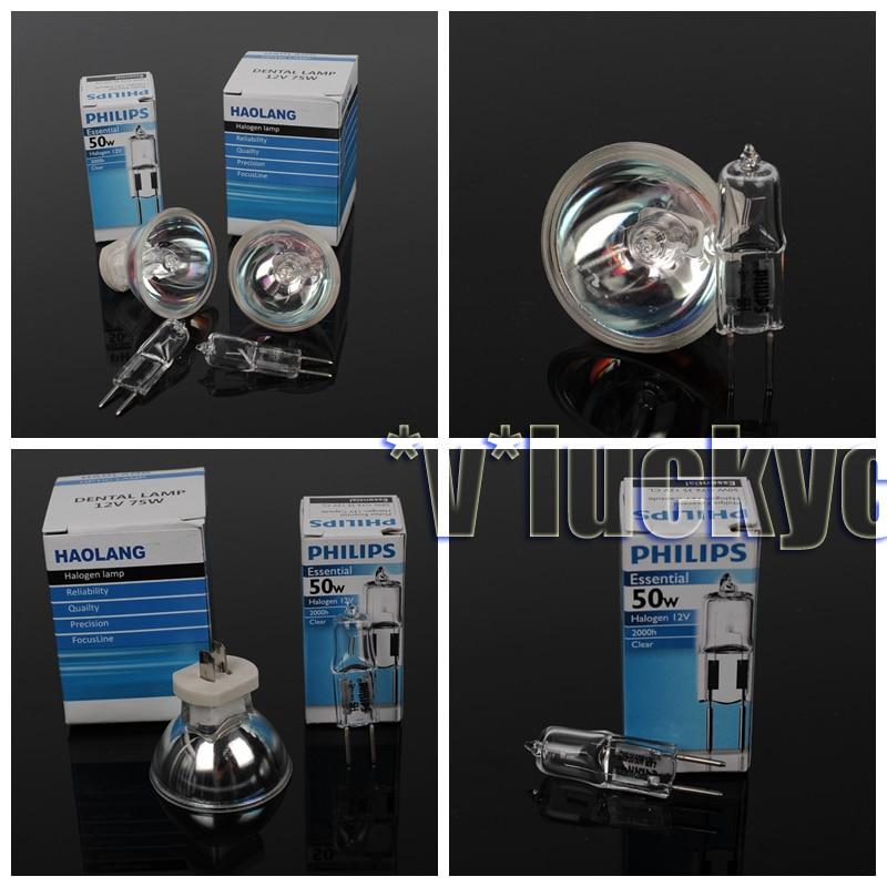2Pcs 12V 75W Halogen Bulb lamps & 2Pcs 12V 50W Oral-Bulb-Light-Lamps 12v 50w 4 2a inami mentor burton ophthalmatic halogen slit lamp 12v50w p44s ophthalmoscope light bulb free shipping