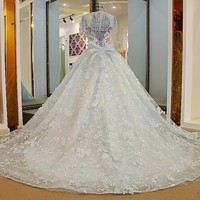 Colorful halloween evening dress lace sexy backless beaded tulle ball gown long prom formal dress pink and light blue 2018