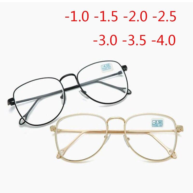 -1 -1.5 -2 -2.5 -3 -3.5 -4 To -6.0 Finished Myopia Glasses Women Men Metal Frame Shortsighted Eyewear Prescription Spectacles