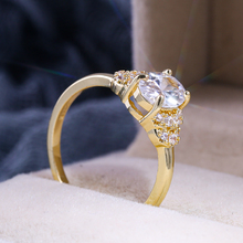 HUITAN Gold Color Wedding Ring With Solitaire Oval Cubic Zircon Prong Setting Women Bridal Band Noble Elegant Female Jewel