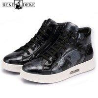 Высокие кроссовки Для мужчин осенне зимняя теплая амортизацию камуфляж Мужская обувь Элитный бренд Карамельный цвет на платформе тренер и