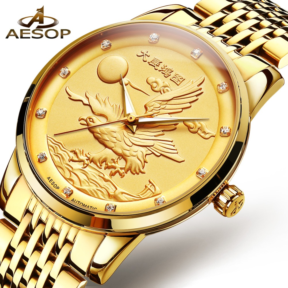 Automatic Watch Men OLEVS Golden Watches For Men Luxury Mechanical Watch Eagle Icon Full Steel Gold Man Wristwatch reloj hombre