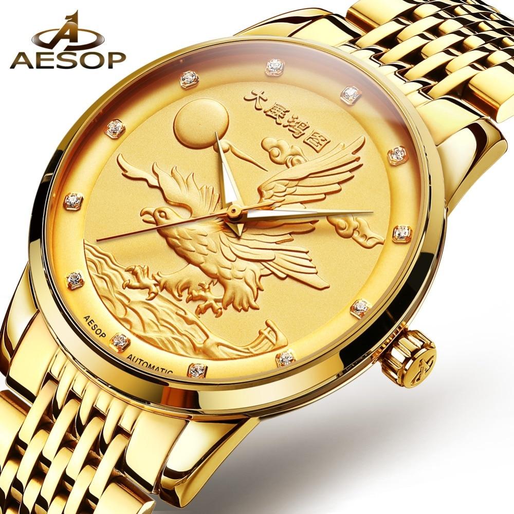 Montre automatique hommes OLEVS montres dorées pour hommes montre mécanique de luxe aigle icône pleine acier or homme montre-bracelet reloj hombre