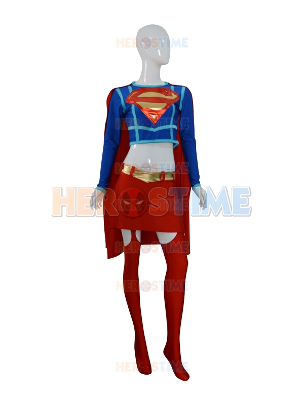 Supergirl Spandex Cosplay Halloween Costumes For Women With Cape