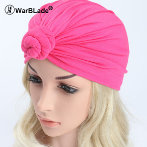 Image 5 - India Lenço Hat Mulheres Muçulmanas Bowknot Ruffle Câncer Chemo Turban Envoltório principal Cap Hat Beanie Scarf Pure Color Mulheres Tampas