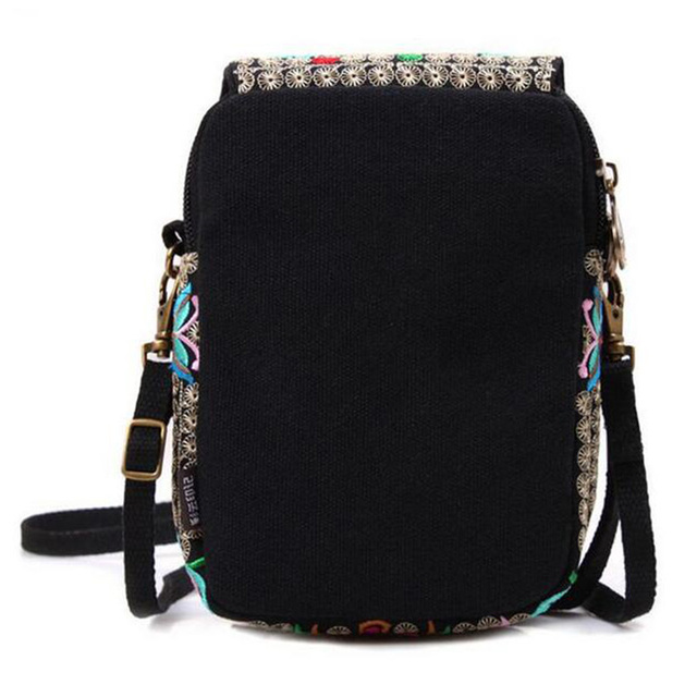 Ethnic Embroidery Bag Vintage National Embroidered Canvas Mobile Phone Small Coins Purse Bags Shoulder Sling Bags 3
