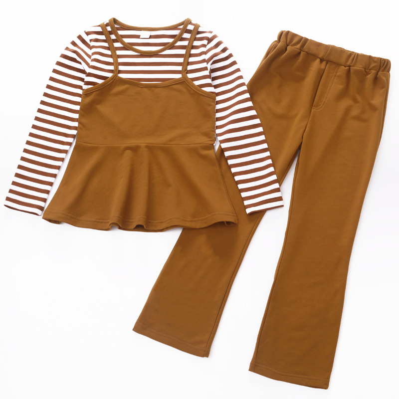 2018 Girls Clothes Sets Long Sleeve Patchwork Cotton Striped Kids Tops & Pants Suits Girl Clothing Sets For 4 6 8 10 12 14 Years kids summer clothes sets for girls striped short sleeve t shirts pants casual clothing cotton children suits girl tracksuits