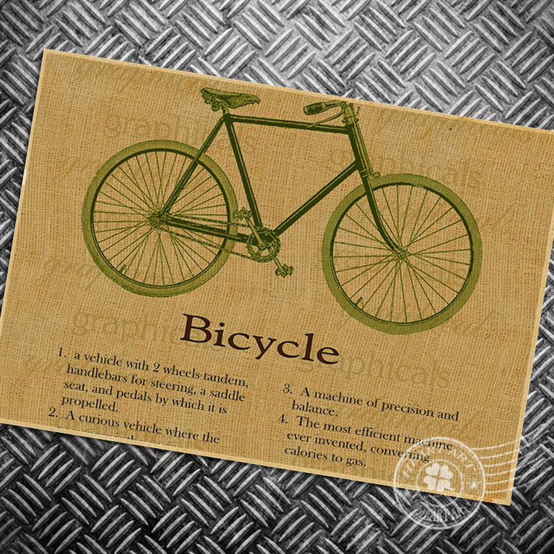 ₪Free ship Vintage poster retro bicycle bike chart old photo classic ...