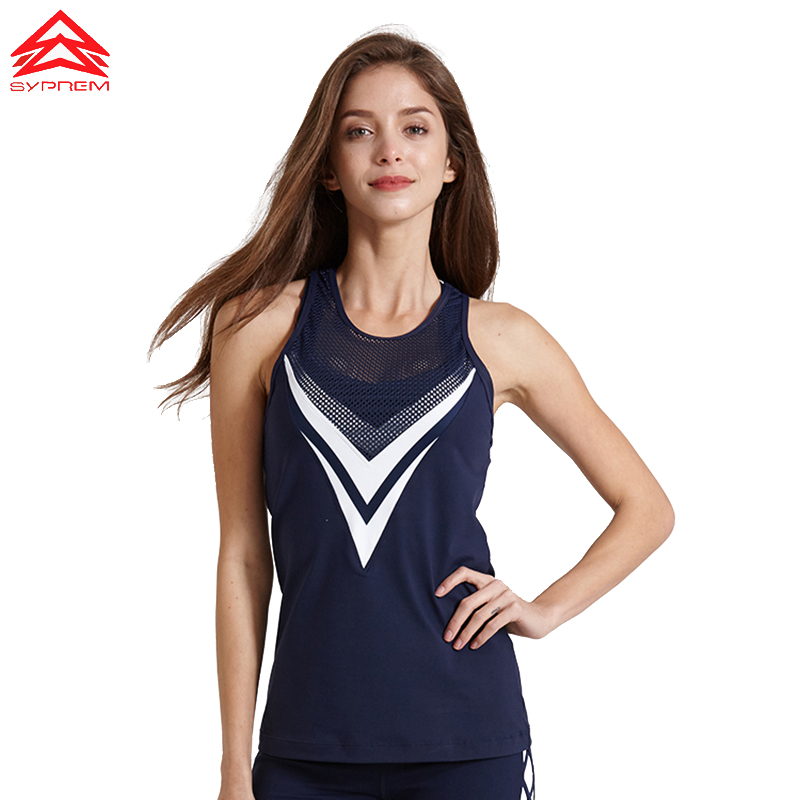 Syprem Women Running Vest Professional Quick-drying Fitness Tank sport Top Active Workout Yoga T-shirt Gym Jogging Vest,1FT1068 stylish double strap printed quick drying sport tank top for women