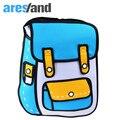 Aresland comic dos desenhos animados 2d 3d blue & amarelo saco de escola mochila para adolescentes meninas saco de viagem saco de livro laptop