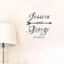 Для пары под заказ, имя, дата брака со стрелкой настенные наклейки виниловые художественные наклейки для Спальня украшения