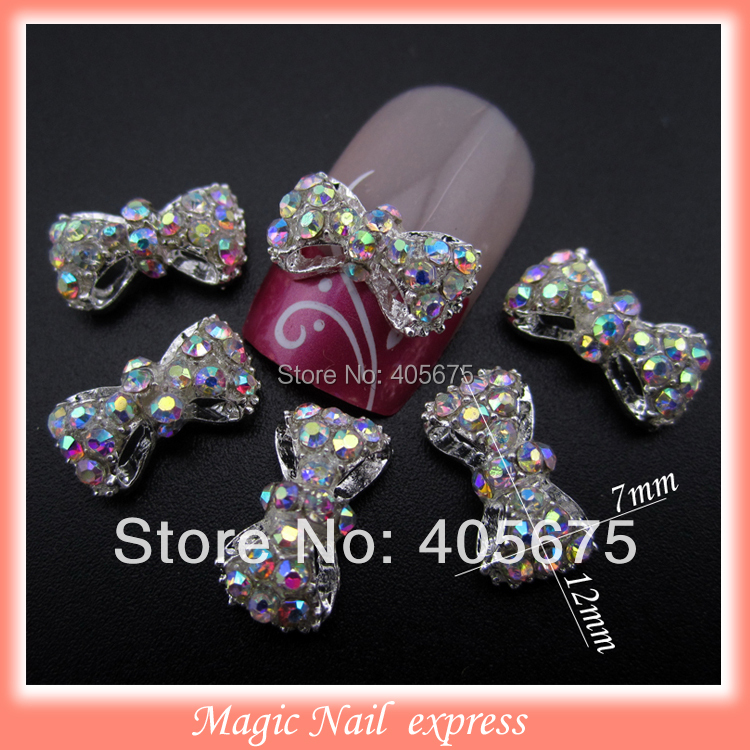 MNS220 3D alloy AB rhinestones bows nail art DIY nail jewelry charms decoration supplies bowknots 10pcs 1000pcs lot ab color marquise nail art rhinestones women decoration diy nail jewelry accessories 3d nail art supply tools wy505