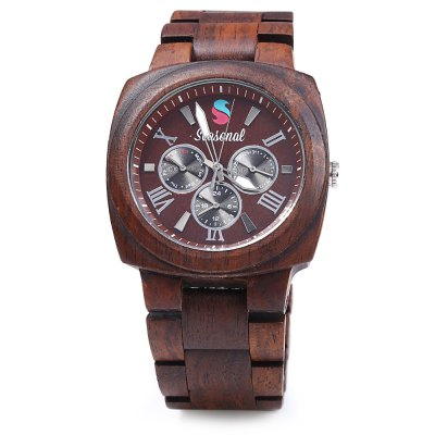 2016 New Fashion Seasonal Men Maple Quartz Watch with Decorative Sub dials Men Wooden Wristwatch for