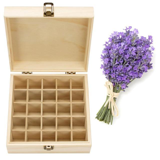 Solid Wood 25 Slot Essential Oil Storage Box 1