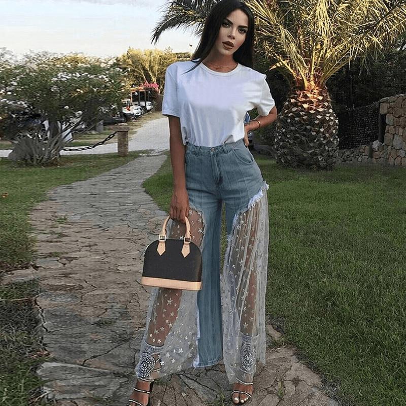 Sexy Women Wide Leg Pants Sheer Mesh Star Print Splice Denim Pants High Waist Casual Loose Pants Jeans Fashion Party Trousers