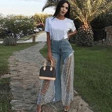 Sexy Women Wide Leg Pants Sheer Mesh Star Print Splice Denim