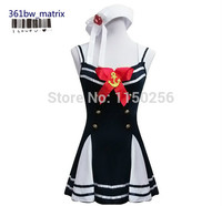 Wholesale Sexy Girls Sling Lace Up Sailor Costume Dress + Hat Halloween Christmas Cosplay Costume Outfit New Free Shipping