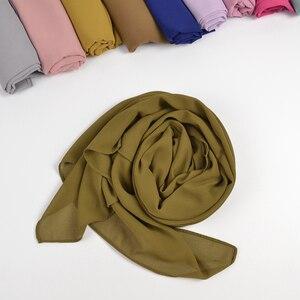Image 5 - 10ชิ้น/ล็อตผู้หญิงธรรมดาฟองชีฟองHijabผ้าพันคอนุ่มยาวอิสลามFoulard ShawlsมุสลิมGeorgetteผ้าพันคอHijabs