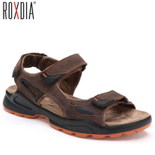 Buy ROXDIA New Fashion Breathable Men's Sandals Genuine Leather Summer Men Sandal Beach Causal Man Shoes Plus Size 38-46 RXM008 directly from merchant!